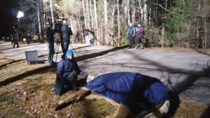 Dreamer playing dead during blocking for a scene